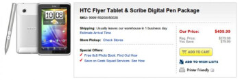 HTC Scribe Pen is now included for free with the purchase of the HTC Flyer at Best Buy
