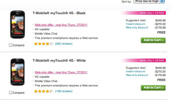 T-Mobile has the myTouch 4G on sale for free online only until July 7