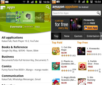 The Amazon Appstore for Android (on the right) offers a clean UI