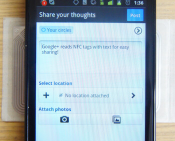 Google+ (Plus) app has hidden NFC sharing