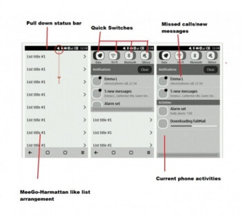 Symbian Belle UI lists remind of the Nokia N9 interface