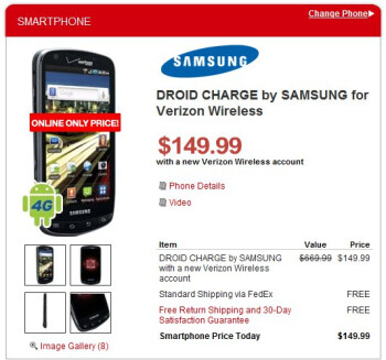 Target is selling the LG Revolution for $50 & Samsung Droid Charge for $150 online only