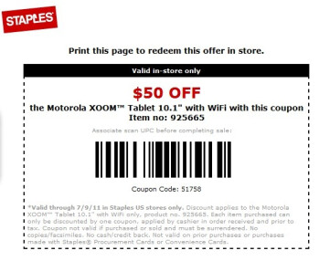 Coupon brings the Motorola XOOM Wi-Fi to $450 for the next two days at Staples