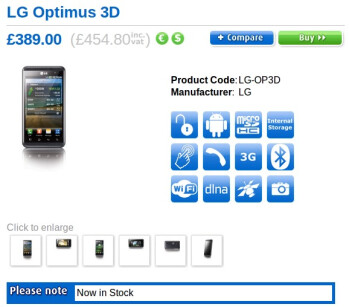 SIM-free LG Optimus 3D is ready for purchase in the UK for £454.80