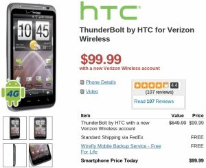 Wirefly has the HTC ThunderBolt & Motorola Droid X2 priced nicely at $100 on-contract