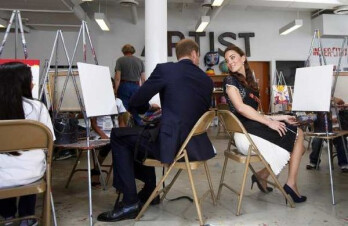Prince William and Kate Middleton at the HP booth and in the Inner-City Arts center