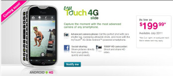 T-Mobile myTouch 4G Slide sign up page reveals its $199.99 on-contract price