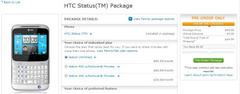 HTC Status goes up for pre-order on AT&T's web site - $49.99 with a 2-year contract