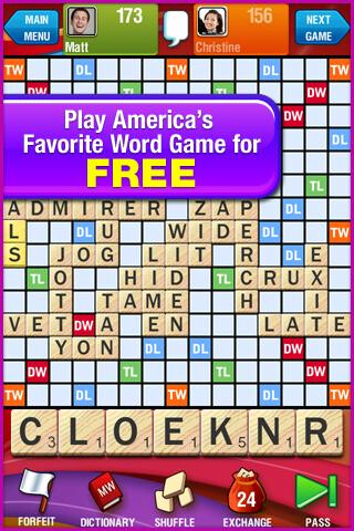 Scrabble is now available for free from the Android Market
