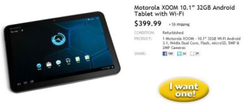 Motorola XOOM 32GB Wi-Fi model is priced remarkably for $399 today only through Woot