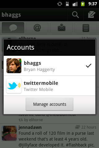 Twitter for Android gets push notifications and multiple accounts