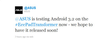 This tweet from ASUS tells us that the popular Eee Pad Transformer is getting tested with Android 3.2