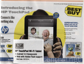 Best Buy Canada has mistakenly given the HP TouchPad Android Honeycomb  instead of webOS...