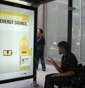 Recharge your mobile electronic device at specific bus stops in major cities