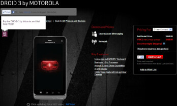 The Motorola DROID 3 from Verizon now comes with a BOGO deal