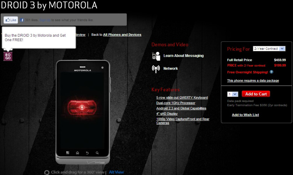The Motorola DROID 3 from Verizon now comes with a BOGO deal - Verizon puts the Motorola DROID 3 on a BOGO deal