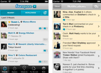 Foursquare for iOS receives new notification center with its latest update