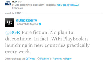 This tweet from RIM calls the story that the Wi-Fi PlayBook is finished,