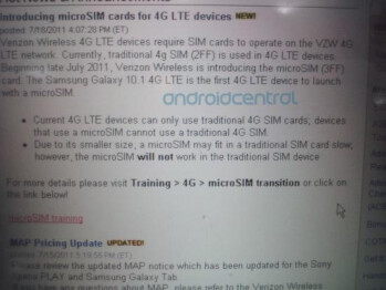 Verizon may be using Micro SIMS in the Samsung Galaxy Tab 10.1