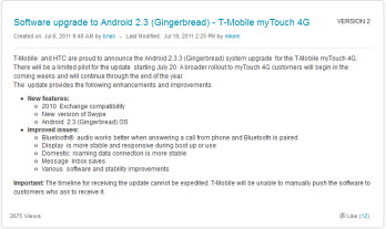Starting Wednesday, a small number of T-Mobile myTouch 4G owners will receive an update to Android 2.3.3