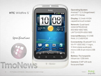 This leaked specs sheet gives us details on the HTC Wildfire S for T-Mobile