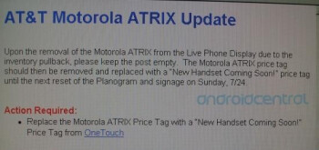 This internal memo suggests that a mystery handset is replacing the Motorola ATRIX 4G at Costco as soon as this Sunday