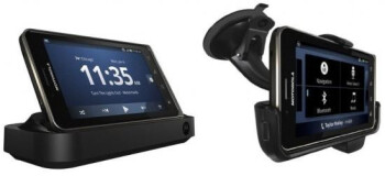 Amazon now has listed the desktop dock (L) and the car dock (R) for the Motorola DROID Bionic