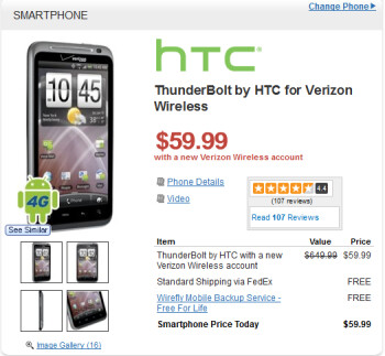 Wirefly is currently offering the HTC ThunderBolt for $59.99 on contract