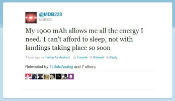 This tweet is one of many from @MDB228, the model number of the Motorola DROID Bionic