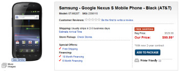 The AT&T version of the Nexus S is now available exclusively from Best Buy