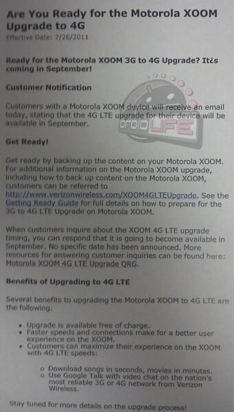 Motorola XOOM finally getting LTE upgrade... in September