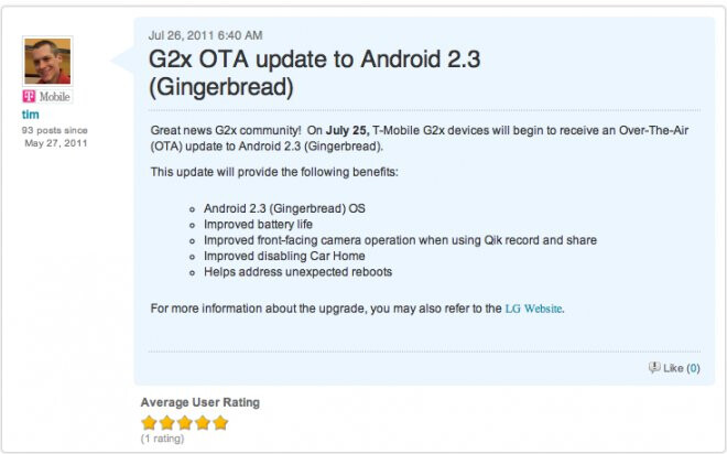 Gingerbread over-the-air update for the T-Mobile G2x is being sent out right now