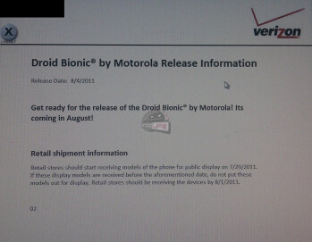 Verizon to display the Motorola Droid Bionic on July 29 and selling it on August 4