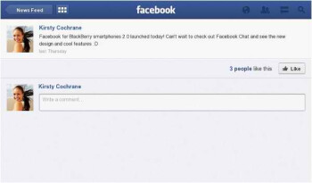 Facebook for BlackBerry PlayBook v2.0 adds on Places & Events features