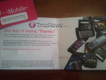 T-Mobile sending out $25 promotional cards to its customers