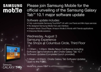 TouchWiz UX update for the Galaxy Tab 10.1 is coming August 3, but in NYC only