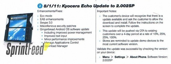 The Sprint Playbook says that the Kyocera Echo will be upgraded to Android 2.3 over a 4 day period starting August 1st - Gingerbread update for Kyocera Echo due August 1st