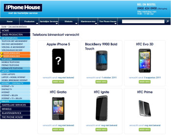 "HTC Prime and HTC Ignite listed as ""coming soon"" on a retailer's online store"