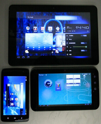 Dell Streak 10 Pro is captured on film alongside with its siblings