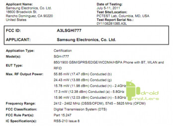 Did the Samsung Attain (L) visit the FCC?; it seems somebody was using the handset while running (R)