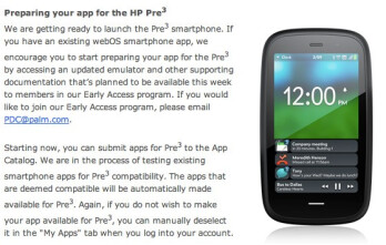 HP says that it is getting ready to launch the Pre 3