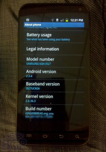 The Kernel shown on this Samsung side slider is actually a Honeycomb Kernel
