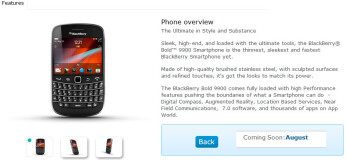 "BlackBerry Bold 9900 is featured as ""coming soon"" to O2 UK"
