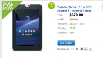 eBay's Daily Deal prices the Toshiba Thrive at a much more fitting $379 price point