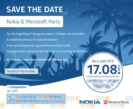 Will the first Mango updated, Windows Phone 7 powered Nokia handset show up at this party? - Nokia's first Mango updated Windows Phone 7 model could debut in mid-month