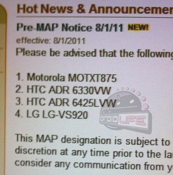 Verizon's latest MAP notice gives us info on two high-end devices - Verizon leaked MAP memo suggests new high-end Android models coming soon