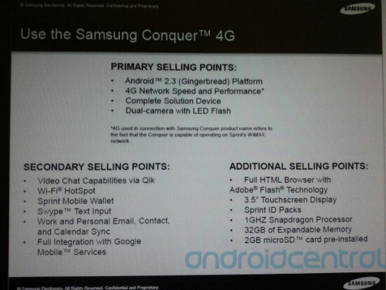 Training material for the Samsung Conquer 4G - Sprint reps getting Cliff Notes version of Samsung Conquer 4G specs