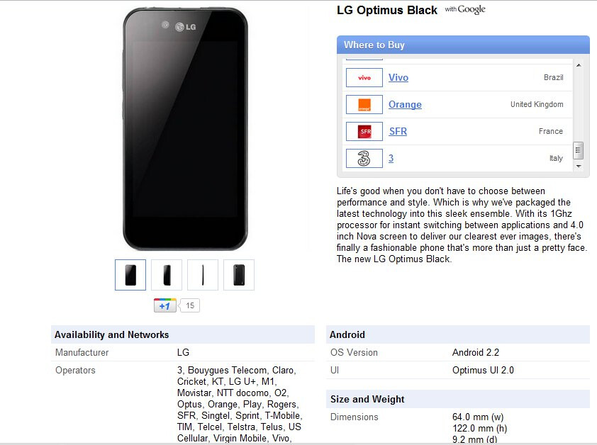 Google's phone site shows the LG Optimus Black as part of Sprint's lineup