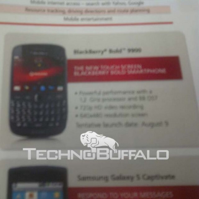 """This flyer shows a """"Tentative"""" August 9th launch date for the BlackBerry Bold 9900 for Rogers - August 9th looks to be the launch date for the BlackBerry Bold 9900 on Rogers"""