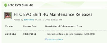An update to v2.76.651.5 for HTC EVO Shift 4G owners is coming August 8th